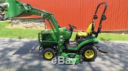 2014 JOHN DEERE 1025R 4X4 COMPACT UTILITY TRACTOR With LOADER & MOWER HYDRO 238 HR