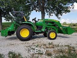 2014 John Deere tractor 3039R low hours mower loader forks tiller auger