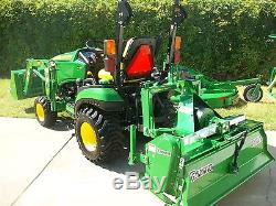 2016 John Deere 1025R Compact Tractor Package, Tiller, Mower, Chipper, 10 yr warnty