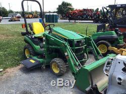 2016 John Deere 1026R 4x4 Hydro Compact Tractor with Loader & 60' Mower Only 600Hr