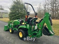 John Deere 1025R Diesel Tractor, 50 Hrs, 24 HP, 4x4, R4 Tires, Loader & Backhoe