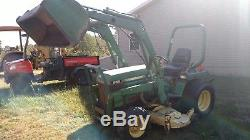 John Deere 855 Tractor with Loader and Belly Mower