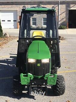 John deere 1025r tractor 31 Hrs, Snow Blower, Log Splitter, Heated Cab