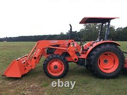 KUBOTA TRACTOR M7040SUHD 4WD 68HP With FRONT LOADER BUCKET, 7FT BUSH HOG & FORKS