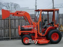 Kubota B7500 4X4 Diesel Tractor With Cab, Belly Mower, Front End Loader, & Blade