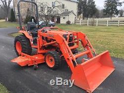 Kubota B7800 Diesel Tractor, 30HP, 4x4, 415 Hrs, Hydro, Loader & 72 Mid Mower