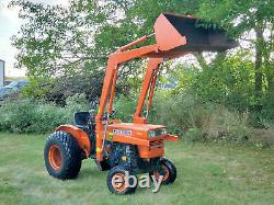 Kubota L245 25HP Diesel 8 Speed Tractor With Loader & Woods 48 Tiller 979 Hours