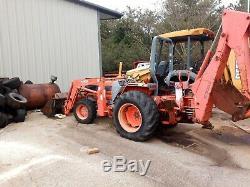 Kubota L4610D 4WD Tractor, LA350 Loader, 3pt Backhoe, Turf Tires, 1,350 Hours