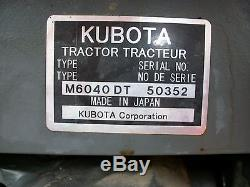 Kubota M6040 tractor with Front Loader, 4WD, Shuttle Shift, 2 remotes, 1,175 hours