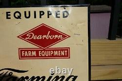Vintage Ford Farming Ford Tractor- Dearborn Farm Equipment Tin Sign Antique