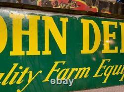 Vintage John Deere FARM Equipment Tractors Sign GAS OIL SEED FEED 72 x 23